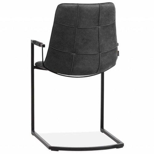 MX Sofa Condor Stuhl mit Armlehne und freischwingender Grundfarbe Anthrazit - 2er-Set
