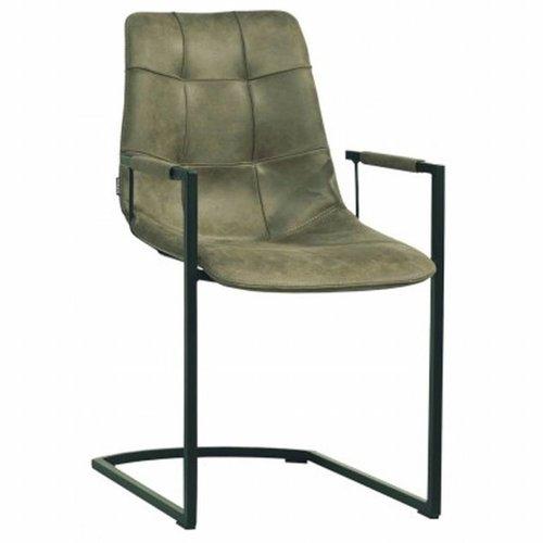 MX Sofa Condor Stuhl mit Armlehne und freischwingendem Unterwagen in der Farbe Olive