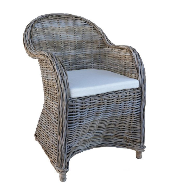 Decomeubel Rattan Chair Kubu Gray with white Cushion