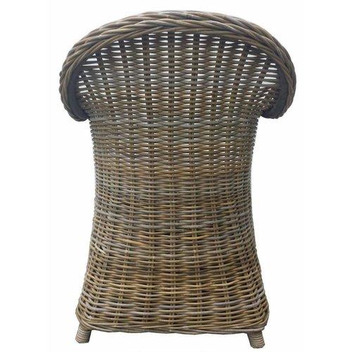 Decomeubel Rattan Chair Kubu Gray with black Cushion