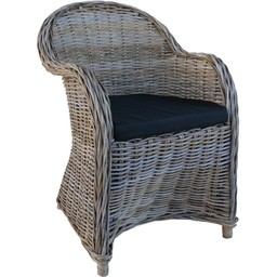 Decomeubel Rattan Chair Kubu Gray with black Cushion