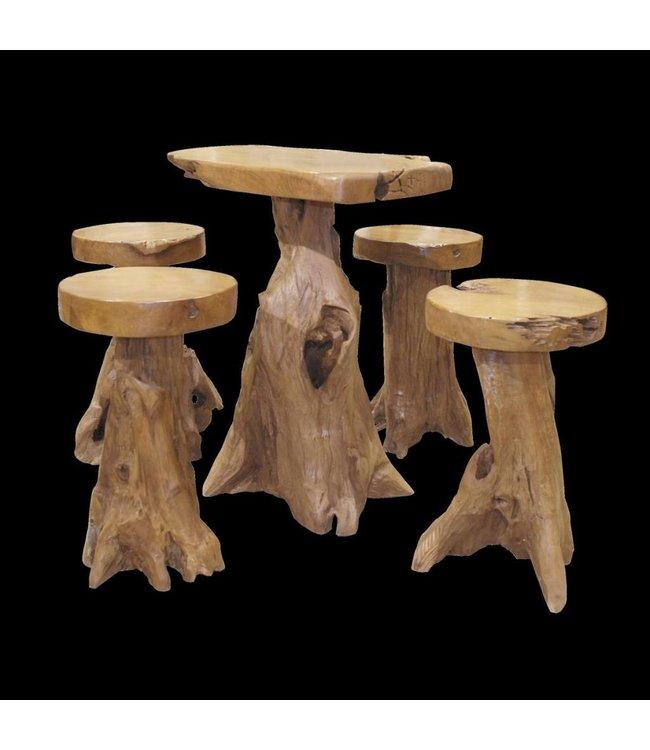 Bar table + 4 Bar stools Root
