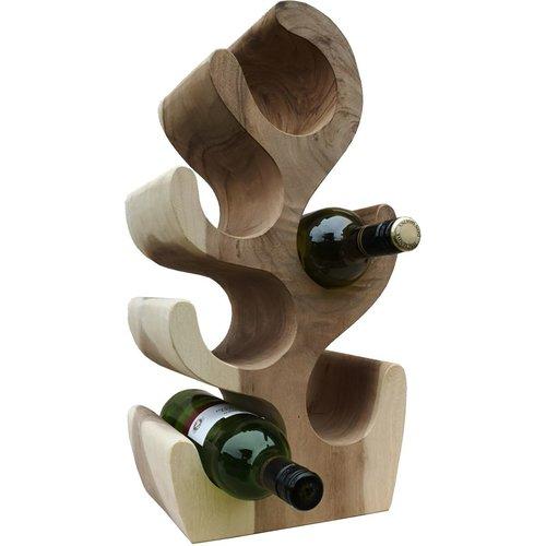 Massief houten wijnrek voor 6 flessen