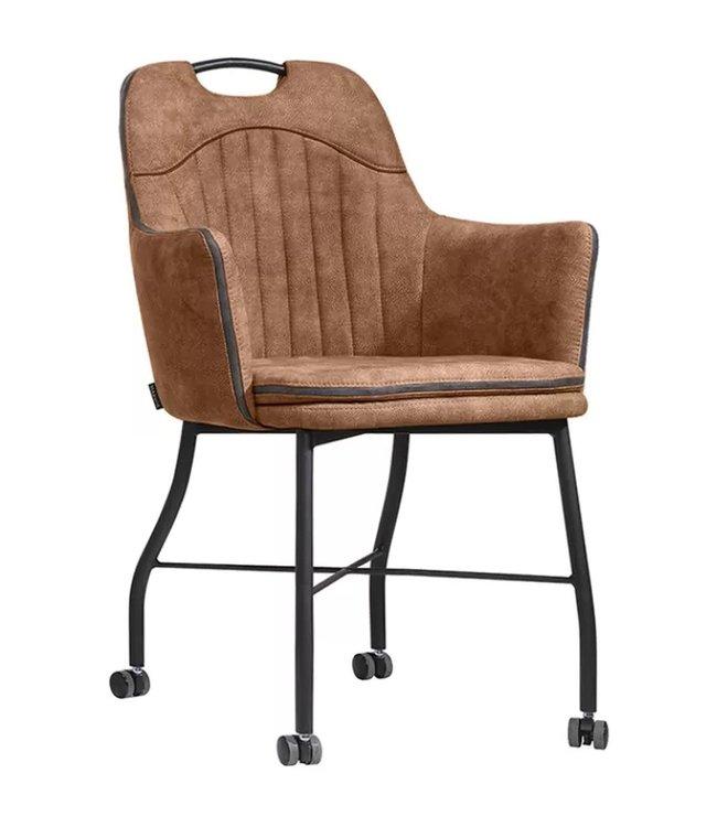 MX Sofa Stuhl Floria mit Rädern - Cognac