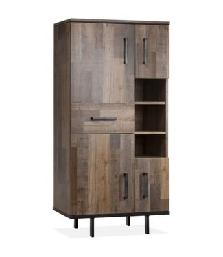 Lamulux Side cabinet FLAIR 4 doors, 1 drawer, 3 open compartments