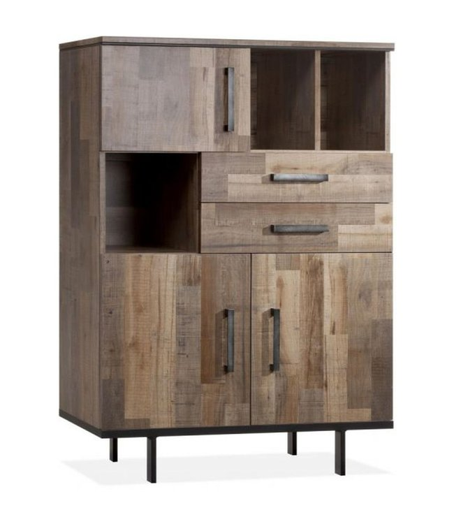 Lamulux Bar cabinet FLAIR 3 doors, 2 drawers, 3 open compartments