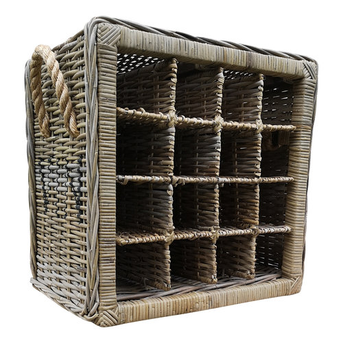 Decomeubel Rattan wine rack for 16 (wine) bottles