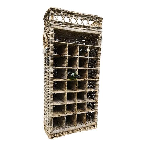 Decomeubel Rattan wine rack for 28 (wine) bottles