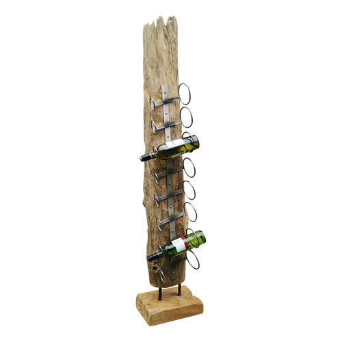 Decomeubel Wine rack teak driftwood 8 bottles