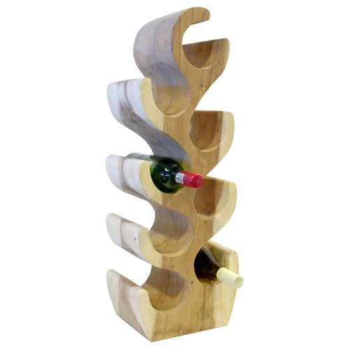 Massief houten wijnrek voor 8 flessen