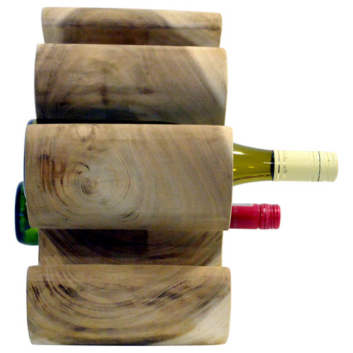"""Massief houten wijnrek """"Mahkota"""" voor 6 flessen"""