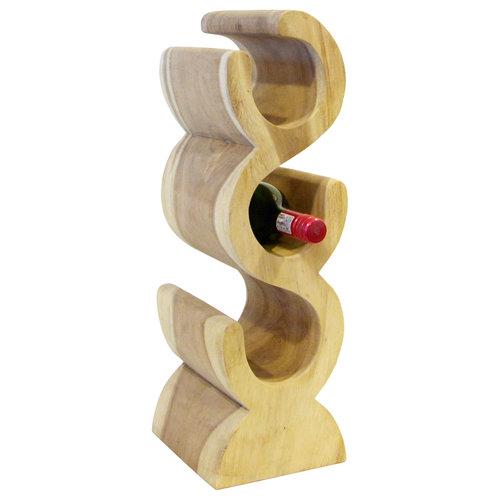 """Massief houten wijnrek """"S"""" 3 flessen"""