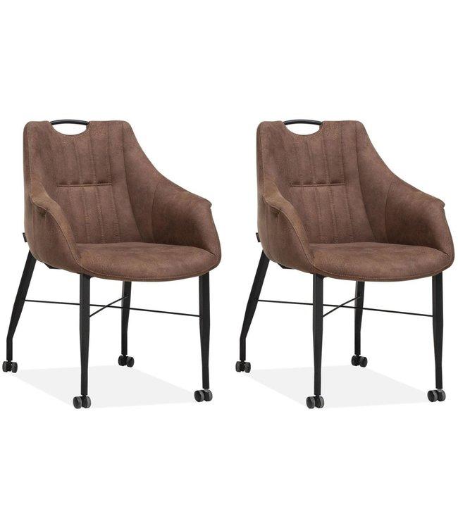 MX Sofa Stuhl Nektar mit Rädern - Cognac - 2er-Set
