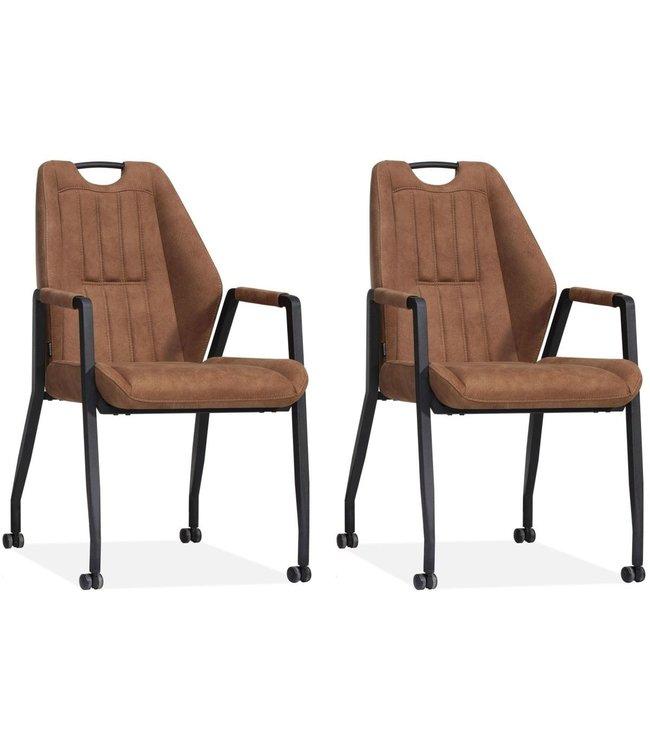 MX Sofa Stoel Axa met wielen - Cognac - set van 2 stuks