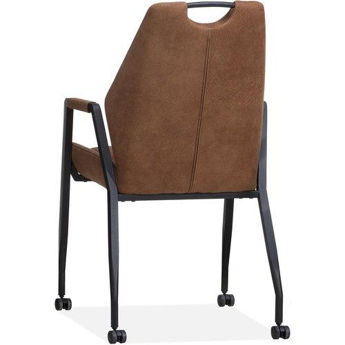MX Sofa Stuhl Axa mit Rädern - Cognac - 2er-Set
