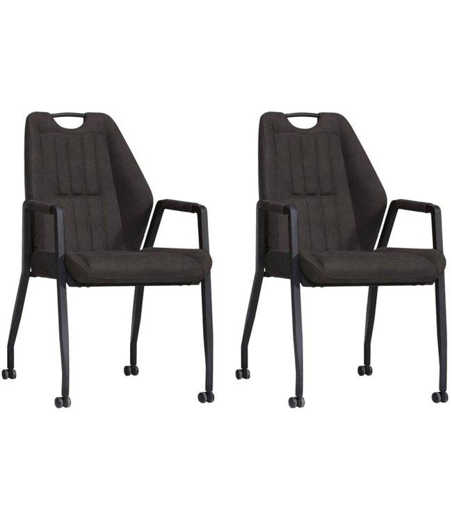 MX Sofa Stuhl Axa mit Rädern - Anthrazit - 2er-Set