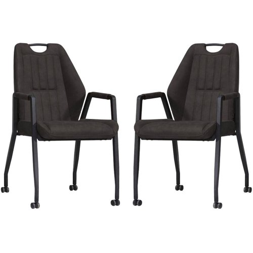 MX Sofa Chair Axa with wheels - Anthracite - set of 2 pieces