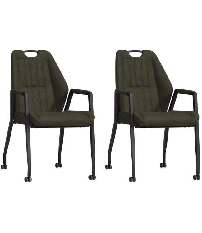 MX Sofa Chair Axa with wheels - Moss - set of 2 pieces