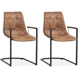 MX Sofa MX Sofastuhl Condor Farbe Cognac - Set mit 2 Stühlen