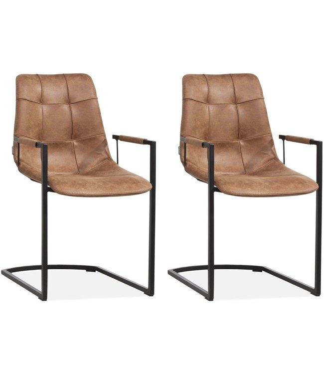 MX Sofa Stuhl Condor mit Armlehne Freeswing Beinfarbe Cognac - Set mit 2 Stühlen