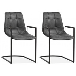 MX Sofa MX Sofa Stoel Condor kleur Antraciet - set van 2 stoelen