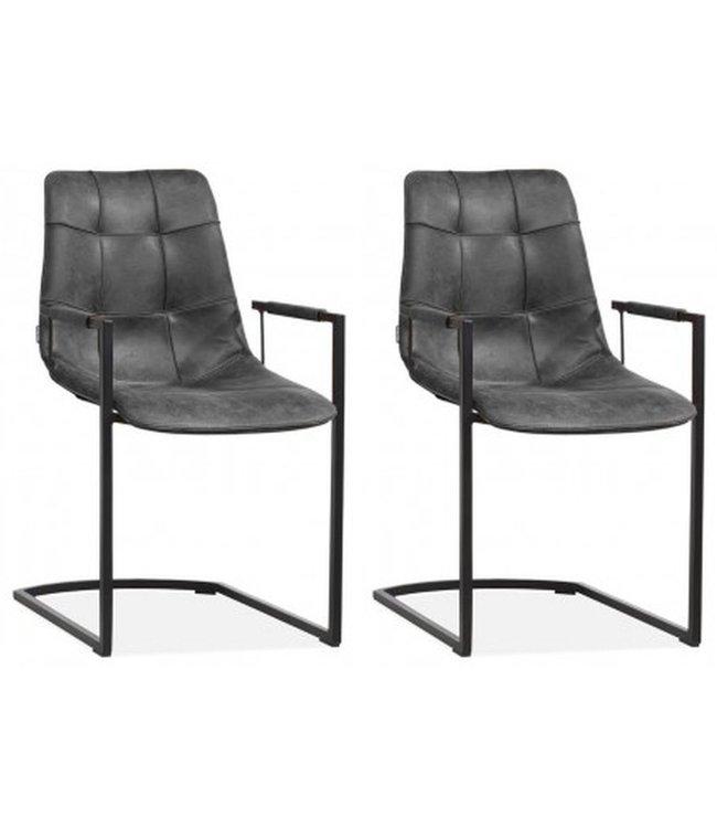 MX Sofa Stoel Condor met armleuning en freeswing onderstel kleur Antraciet - set van 2 stoelen