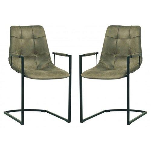 MX Sofa Stuhl Condor mit Armlehne Freeswing Beinfarbe Olive - 2er Set