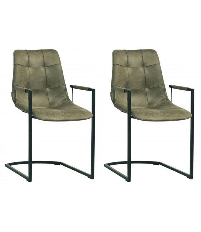 MX Sofa Stuhl Condor mit Armlehne Freeswing Beinfarbe Olive - Set mit 2 Stühlen