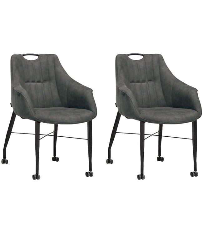 MX Sofa Chair Nectar with wheels - Anthracite - set of 2 pieces