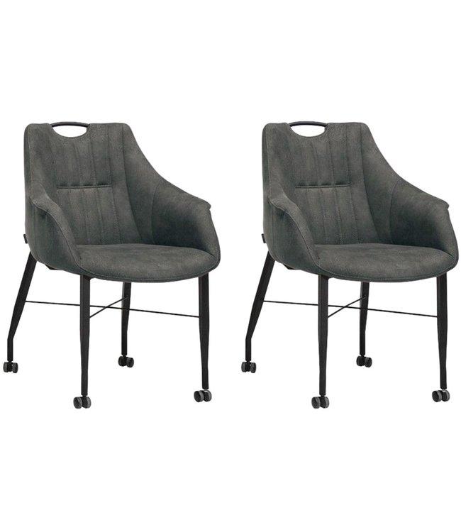 MX Sofa Stuhl Nektar mit Rädern - Anthrazit - 2er-Set