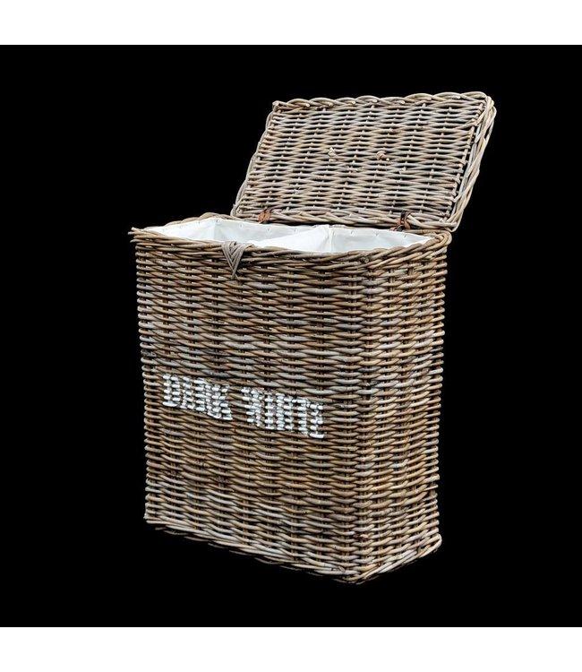 Decomeubel Rattan laundry basket kubu gray
