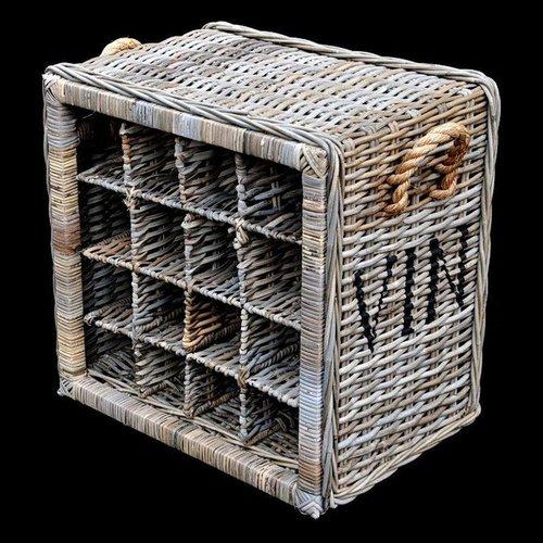 Decomeubel Rattan wine rack for 16 (wine) bottles