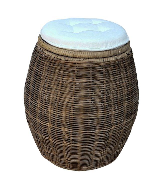 Rattan storage stool with seat cushion