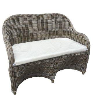 Decomeubel DecoMeubel Rattan 2-seater sofa Kubu Gray with Cushion