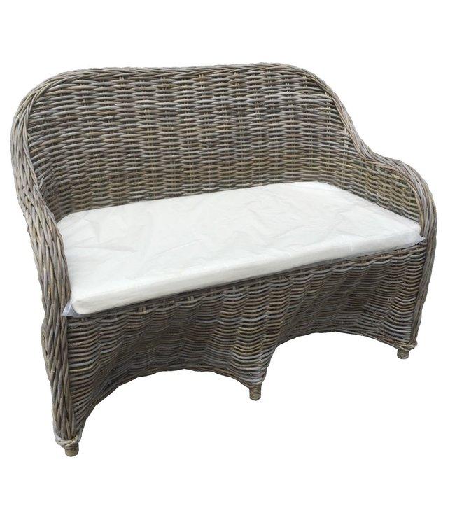 Decomeubel DecoMeubel Rattan 2-Sitzer-Sofa Kubu Grey mit Kissen