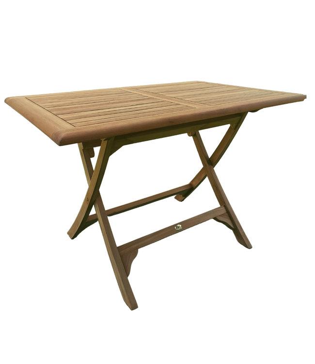 Decomeubel Rechteckiger klappbarer Gartentisch aus Teak 120 x 80 cm