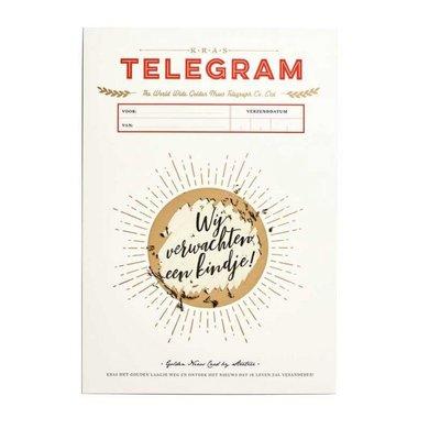 """Stratier Kras telegram """" wij verwachten een kindje  """""""