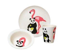 Zuperzozial Bamboe eetset - Hungry Flamingo set/3
