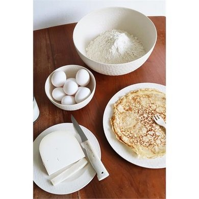 Zuperzozial Bamboo large bowl hammered coconut white