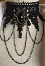 Kropfband aus Spitze schwarz