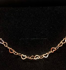 kurze Kette Herzerl 925 Silber rosevergoldet 40er Länge