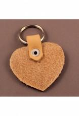 Leren sleutelhanger in hartvorm