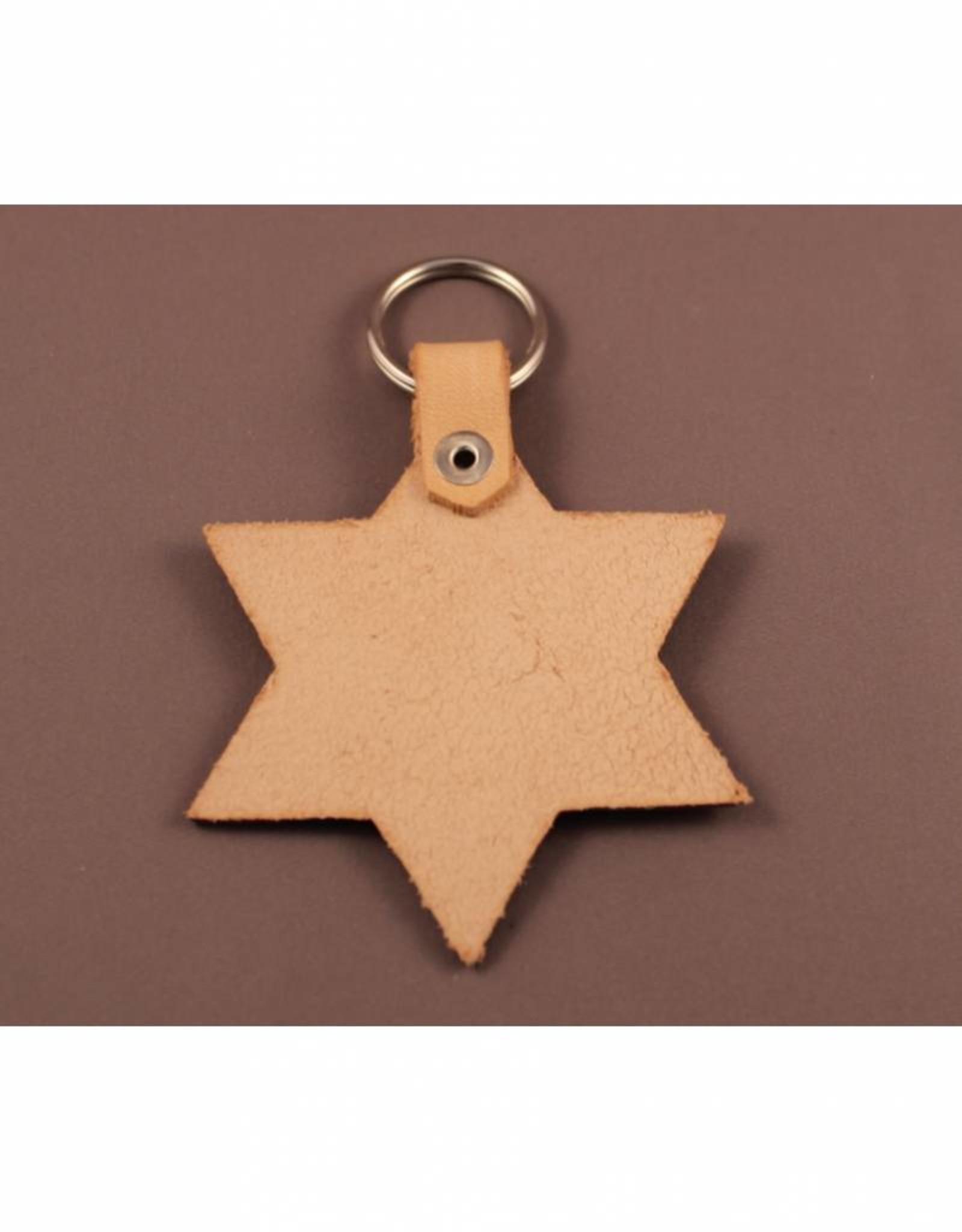 Leren sleutelhanger in stervorm
