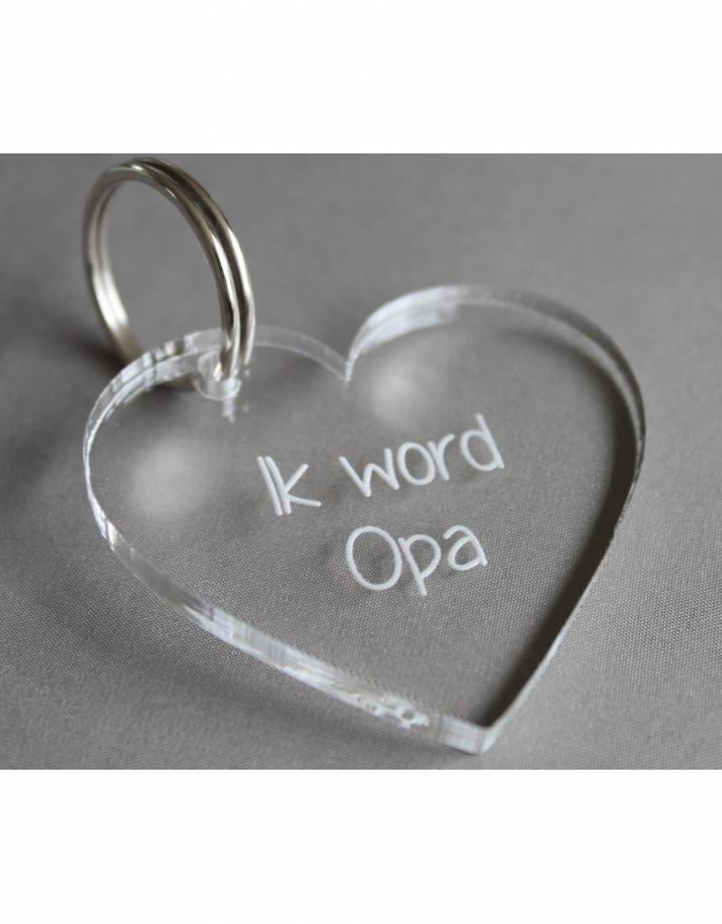 "Sleutelhanger hartje ""Ik word Opa"""