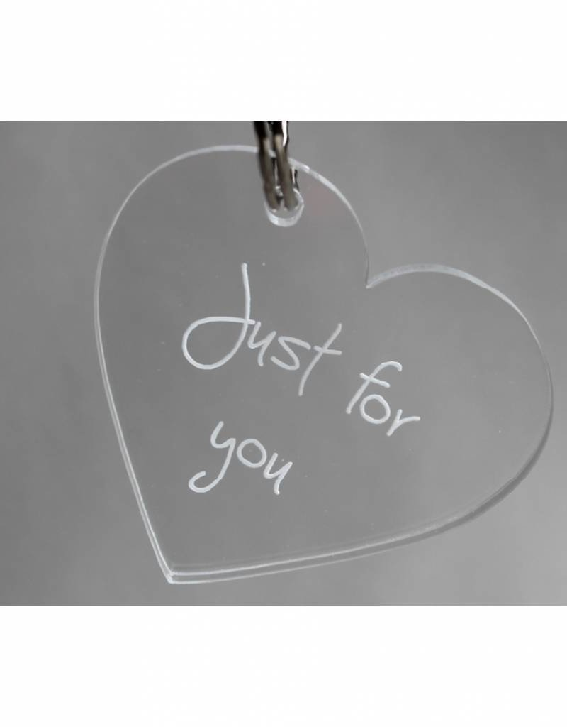"Sleutelhanger hartje ""Just for you"""