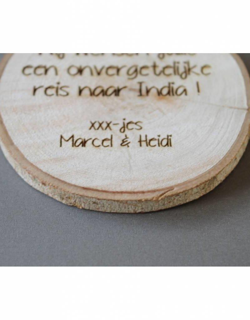 Houten cadeau-label - met uw tekst
