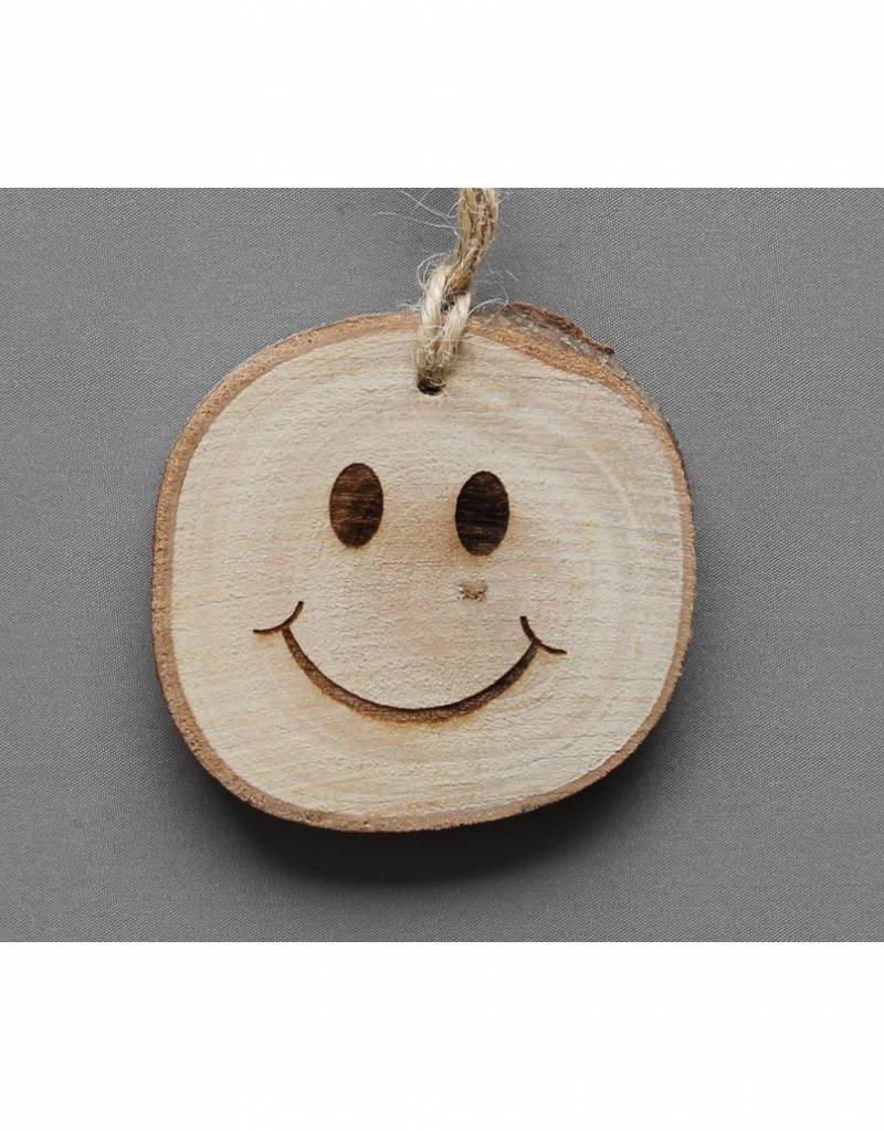 "Houten cadeau-label - ""Smiley"""