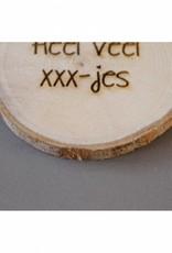 """Houten cadeau-label - """"Heel veel xxx-jes"""""""