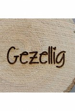 "Houten cadeau-label - ""@ Gezellig"""