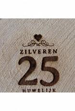 """Houten cadeau-label - """"Zilveren 25 huwelijk"""""""